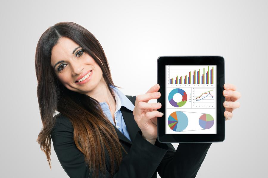 bigstock-Businesswoman-showing-financia-43482883